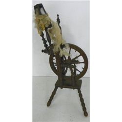 18th c. wood & ivory spinning wheel ca. 1750