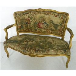 19th c. French scenic Aubusson loveseat