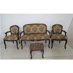 French style love seat & 2 chairs with foot stool