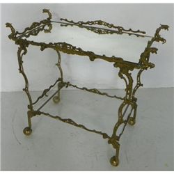 "Old brass 2 tier teacart depicting figural ""Birds"""