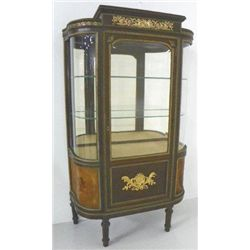 Mahogany bevelled glass door curio cabinet