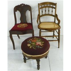 2 Victorian chairs & 1 needlepoint footstool