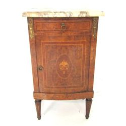 French style marquetry marble top night stand