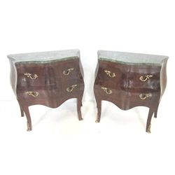 Pair French style marble top commodes