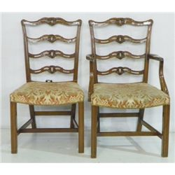 Set 6 light mahogany finish ribbon back chairs