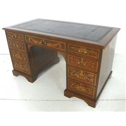 Late 19th c. inlaid leather top 2 pedestal desk