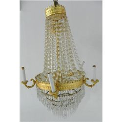 Empire 5 arm bronze & crystal chandelier