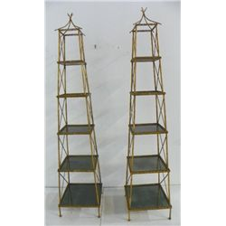 Pair gilt metal faux bamboo etageres