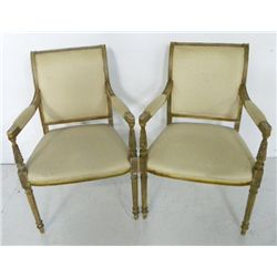 Pair Directoire paint decorated fauteuils