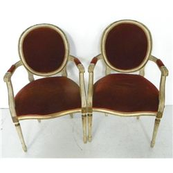 Pair white painted oval back Louis XVI fauteuils