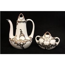 Porcelain coffee pot & sugar bowl