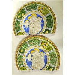 Pair 19th c. Italian Majolica wall plaques