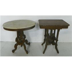 2  Victorian marble top tables