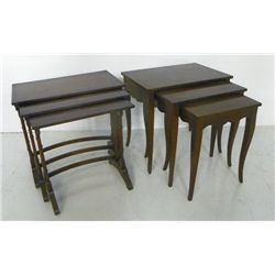 2 walnut nest of tables