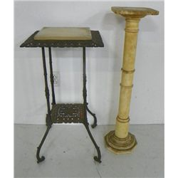 Victorian plant stand & marble pedestal
