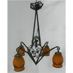 Art Deco wrought iron 4 light hanging fixture