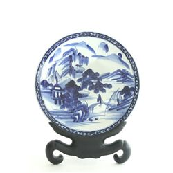 Chinese blue & white charger with stand