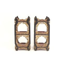 Pair Chinese lacquer stands