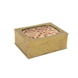 Etched brass & carved stone box in the Asian taste