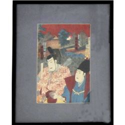 Antique Japanese wood block print signed