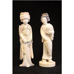 2 Japanese carved ivory figures artist signed