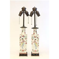 Pair 19th c. Chinese Rose Famille  vases