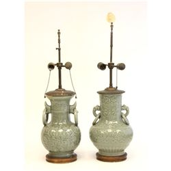 Pair antique Celadon vases mounted as lamps