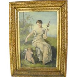 Gilt framed oil painting  Woman with Cherub