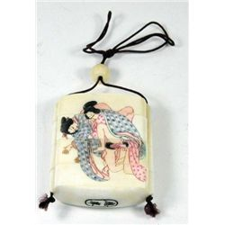 Erotic ivory 4 section keepsake box
