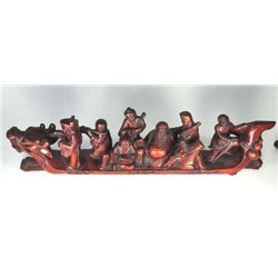 "Wood carving of ""8 Angels on a Dragon Boat"""