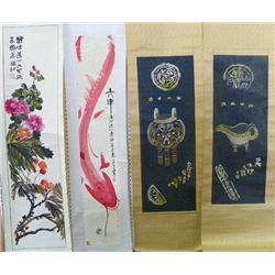 Group lot of 4 Chinese scrolls