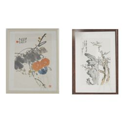 "2 framed Chinese paintings of ""Trees & Flowers"""