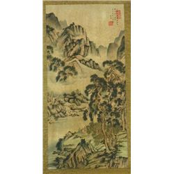 "Chinese scroll painting of ""Mountain Landscape"""