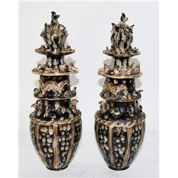 Pair Korean pottery covered urns