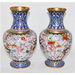 Pair Chinese cloionne vases