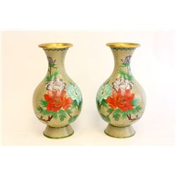 Early 20thc pair cloisonne Chinese vases