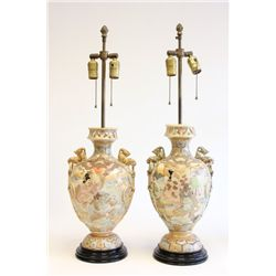 Pair Satsuma vases mounted as lamps