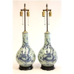"Pair Celadon vases of ""Blue Dragons"""