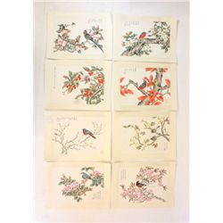Set of 8 Chinese watercolors on rice paper
