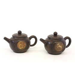 Pair brown colored Yi Chin teapots