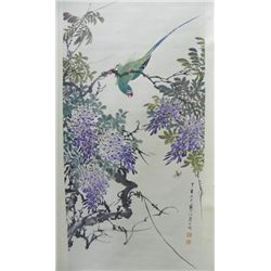 "Chinese scroll of ""Bird with Flowers"""