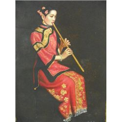 "Unframed painting ""Girl with Flute"""