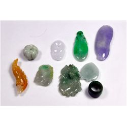 Group of jade pendants & beads