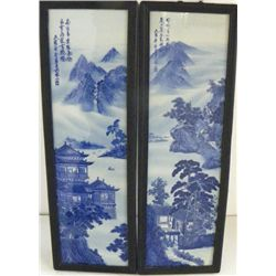 Pair Chinese porcelain wall hangings