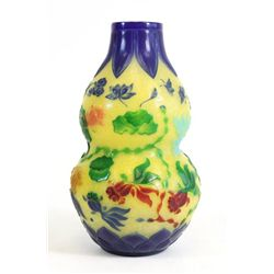Early 20th c. Peking glass double gourd vase