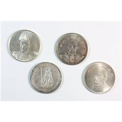 4 Chinese silver memorial 1 dollar coins