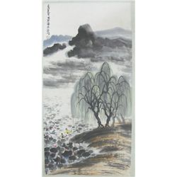 "Chinese scroll watercolor of ""Lake Scene"""