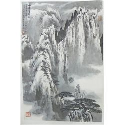 "Chinese scroll ""Snow Peak Mountaintops"""