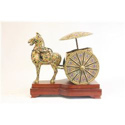 "Chinese bronze & cloisonne ""Horse & Cart"""