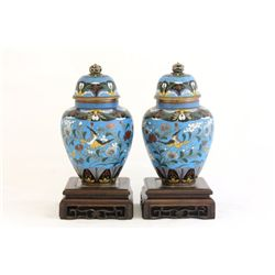 Pair 19/20th c. Chinese cloisonne jars